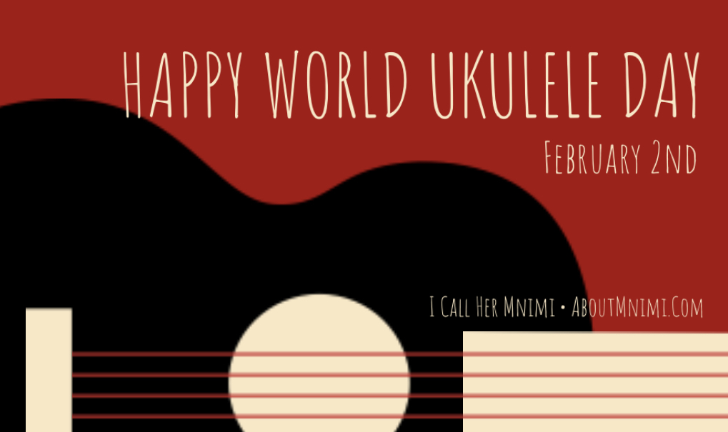 A drawing of a black ukulele with red strings over a red background for World Play Your Uke Day