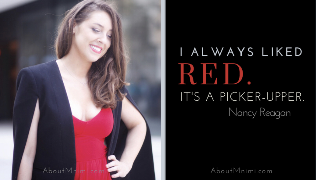 Diptic of a lady in red and Nancy Reagan quote on the red color
