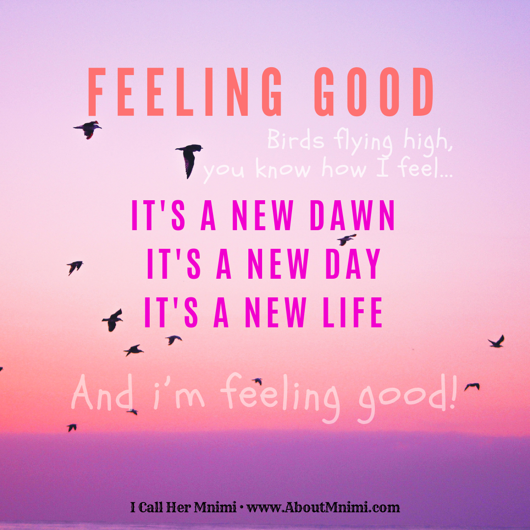 Feeling Good - Birds flying high, you know how I feel...  It's a new dawn.  It's a new day.  It's a new life.  And I'm feeling good! | Nina Simone song