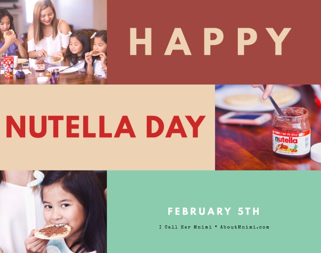 Mother and children enjoying pancakes with Nutella for World Nutella Day