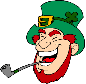 Laughing leprechaun wearing a St Paddy's Day shamrock hat